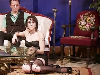 Cute naughty in stockings and heels loves BDSM and bondage