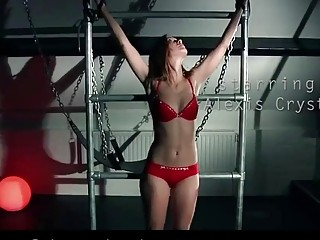 Delectable naked babe enjoys bondage and BDSM with her master