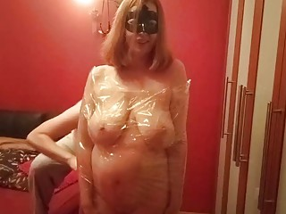 Naked amateur loves BDSM and getting fucked while being wrapped