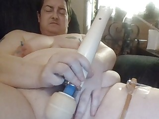 Fat tattooed amateur enjoys BDSM and playing with his pussy