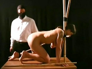 Submissive wife bound, stretched and abused in various awkward positions